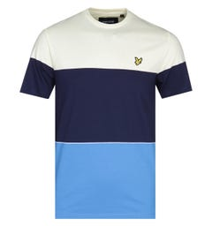 Lyle & Scott Wide Multi-Stripe Yellow, Navy & Blue T-Shirt