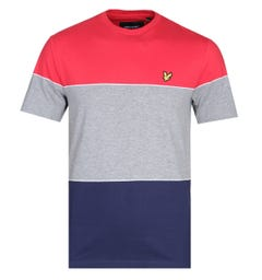 Lyle & Scott Wide Multi-Stripe Red, Grey & Navy T-Shirt