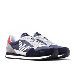 Emporio Armani Eagle Logo Navy Runner Trainers