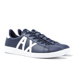 Armani Exchange Perforated Navy Leather Trainers