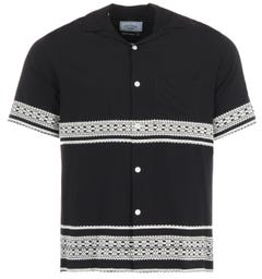 Portuguese Flannel Lace Embroidery Short Sleeve Shirt - Black