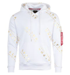 Alpha Industries All Over Foil Logo Hooded Sweatshirt - White