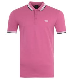 BOSS Paddy Tipped Pique Cotton Polo Shirt - Pink