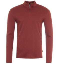 BOSS High Neck Slim Fit Long Sleeve Ribbed T-Shirt - Brown