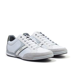 BOSS Saturn Leather Mesh Trainers - Light Grey