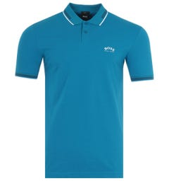 BOSS Paul Curved Slim Fit Twin Tipped Polo Shirt - Blue & White