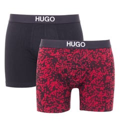 HUGO 2 Pack Sustainable Boxer Briefs - Black & Red