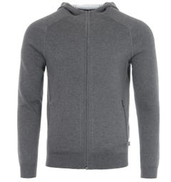 BOSS Wool Cashmere Blend Hooded Sweater - Anthracite