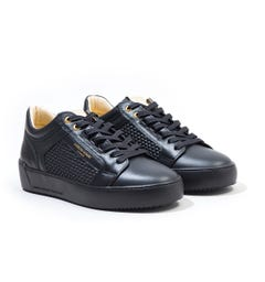 Android Homme Venice Lattice Woven Leather Trainers - Black