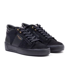 Android Homme Propulsion Mid Stingray Black Velvet Leather Trainers