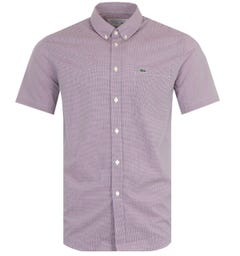 Lacoste Gingham Short Sleeve Shirt - Blue & Red
