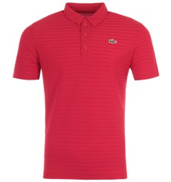 Lacoste Sport Textured Horizontal Stripe Polo Shirt -  Red
