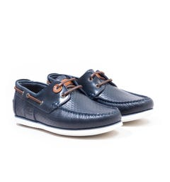 Barbour Capstan Leather Boat Shoes - Navy